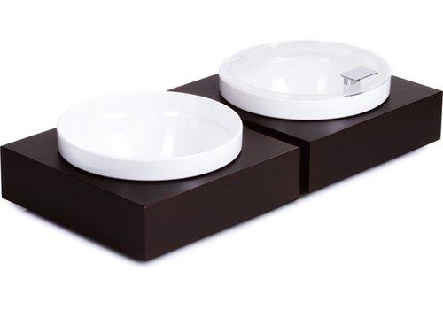 APS Zwarte Buffetplaat met Kom en deksel | 26,5x26,5cm