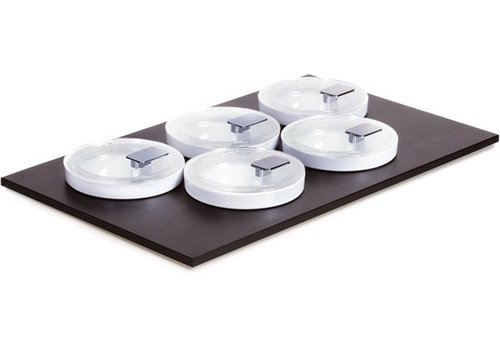 APS Black Buffet Plate with 5 bowls and lids | 53x33cm
