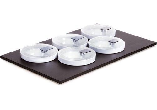 APS Schwarz Buffet Platte mit 5 Schalen und Deckel | 53x33cm