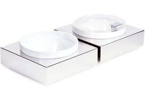 APS RVS Buffetplaat met Witte Melamine Kom | 26,5x26,5cm