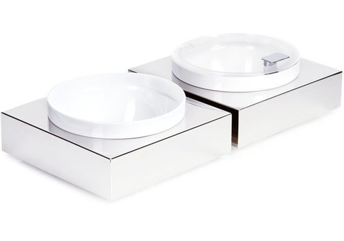 APS Stainless Steel Buffet Plate with White Melamine Bowl | 26,5x26,5cm
