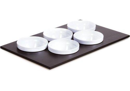 APS Buffetplaat met 5 Witte Kommen | 53x33cm