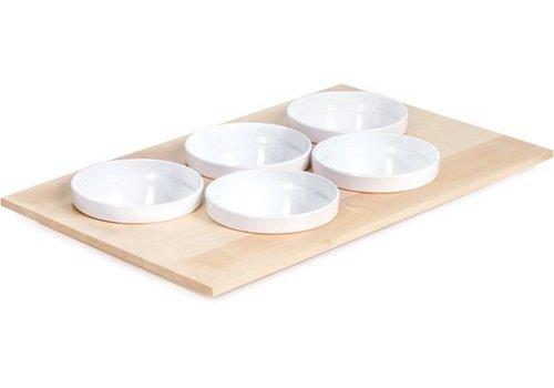 APS Buffet-Platte mit 5 White Schalen | 53x33cm