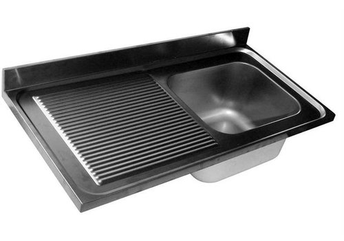 HorecaTraders Rinse Table Stainless Steel | sink right | 120x60x40 cm