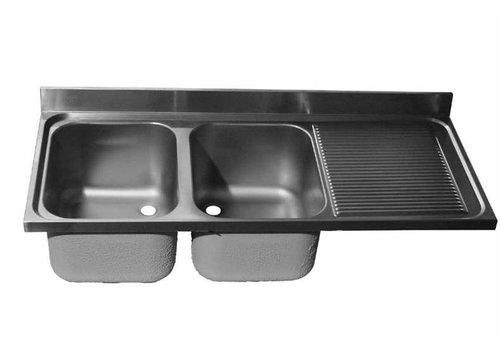 HorecaTraders Tischplatte aus Edelstahl Spule | Doppelwaschbecken Links | 200x60x40 cm