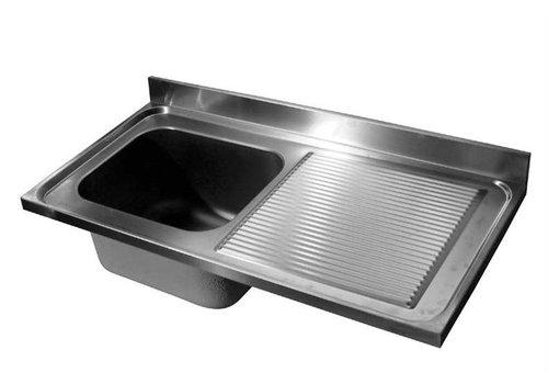 HorecaTraders Tischplatte aus Edelstahl Spule | Waschbecken Links | 120x70x40 cm