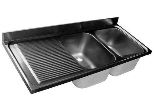 HorecaTraders Tischplatte aus Edelstahl Spule | Doppelwaschbecken rechts | 160x70x40 cm