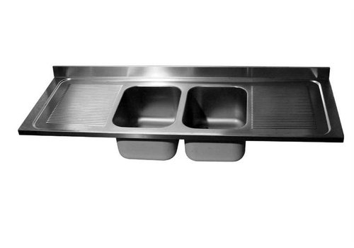 HorecaTraders Tabletop stainless steel coil | double sink middle | 240x70x40 cm