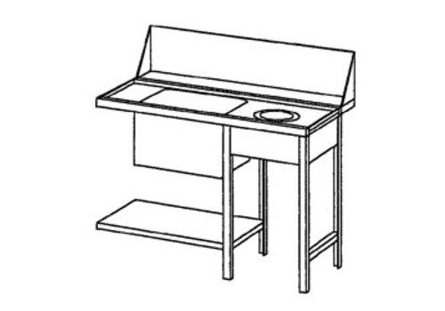 Bartscher Aanvoertafel rechts met Afvalkoker | 120x72x85 cm