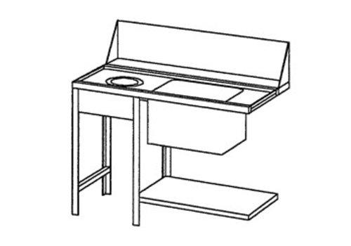 Bartscher Aanvoertafel links met Afvalkoker | 120x72x85 cm