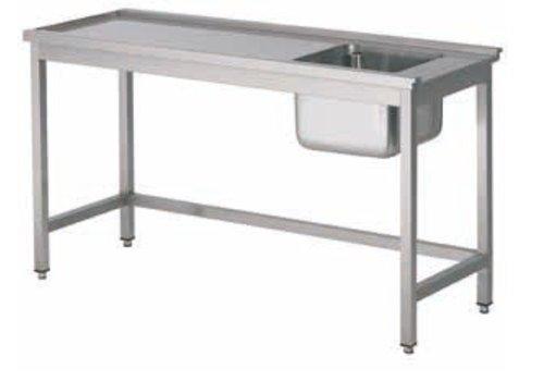 HorecaTraders Einlauftisch mit Edelstahl-Spüle rechts | 5 Formate