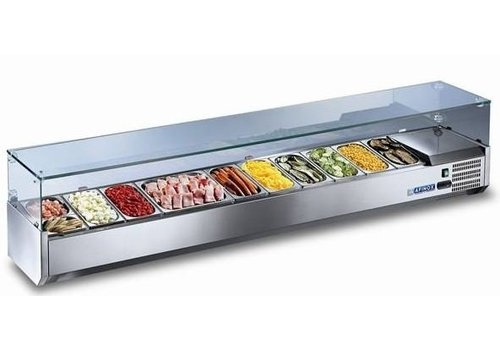 Afinox Refrigerated Surface-mounted display case with glass 134x40x43 cm