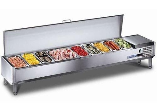 Afinox Kühlarbeitsplatte mit Edelstahldeckel 10x 1/6 GN