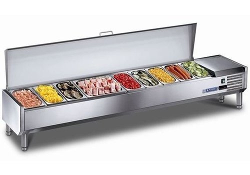 Afinox Set-up showcase cooled with stainless steel Lid 5x 1/3 GN or 10x 1/6 GN