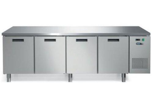 Afinox RVS Koelwerkbank met Werkblad en 4 deuren | 245 x 70 x 85 cm