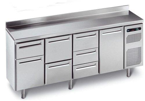 Afinox Koelwerkbank RVS met 4 automatische deuren | 230 x 70 x 86 cm