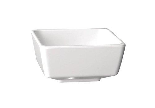 HorecaTraders Melamin weißes Quadrat Schüssel   5 Formate