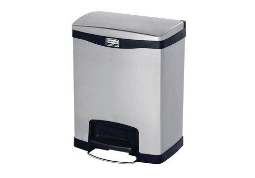 Rubbermaid Slim Jim pedaalemmer met pedaal aan voorzijde RVS 30 liter