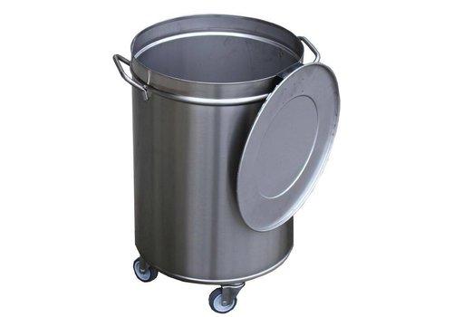 HorecaTraders Stainless steel waste bin | 50 liters