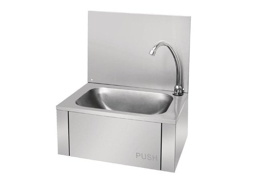 Vogue Washbasin with knee-operated stainless steel