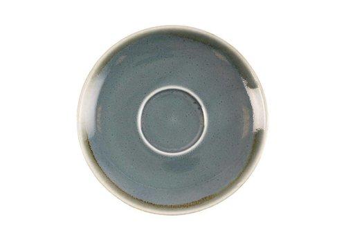 Olympia Blauwe porselein cappuccinoschotels 14cm (6 stuks)