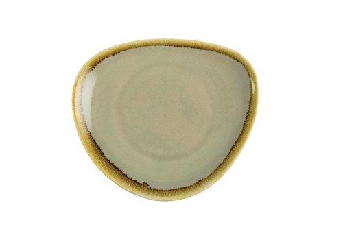 Olympia Mosgroene porselein driehoekige borden 16,5cm (6 stuks)