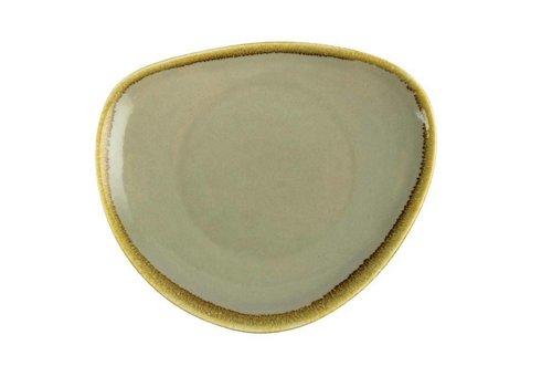 Olympia Mosgroene porselein driehoekige borden 23cm (6 stuks)