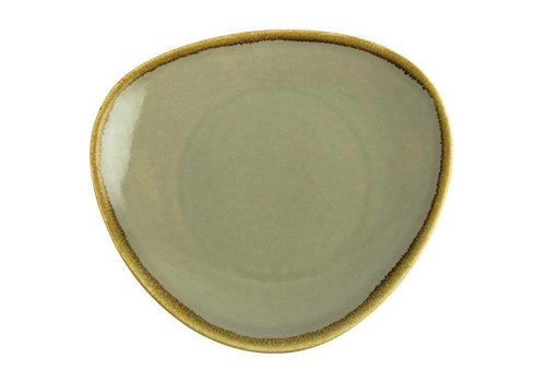 Olympia Mosgroene porselein driehoekige borden 28cm (4 stuks)
