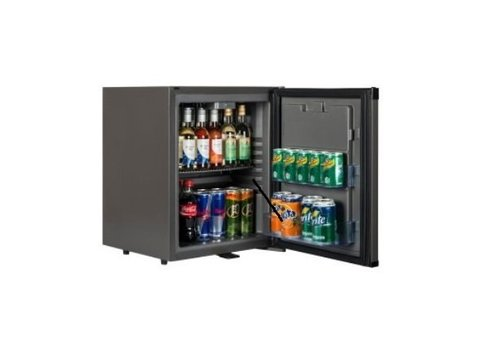 HorecaTraders Small Black Fridge - SILENT FRIDGE 31 liters
