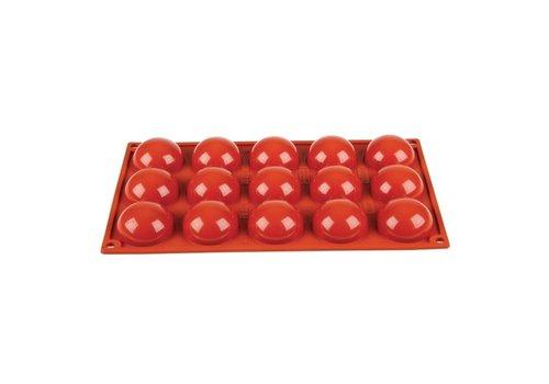HorecaTraders Anti-aanbak bakvormen rood | 15 halve bollen