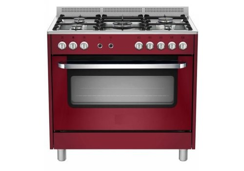 Saro Gasfornuis Rood Elektrische Oven en Grill | 5 Branders