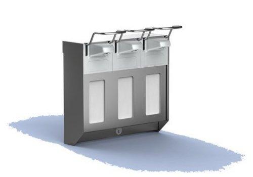 HorecaTraders Triple RVS zeepdispenser | 3 x 500 ml