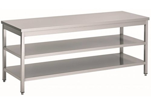 HorecaTraders Edelstahl-Arbeitstisch mit 2 Regalen | 60 cm tief | 14 Formate