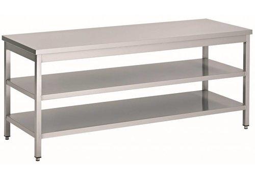 HorecaTraders RVS Werktafel met 2 schappen | 70 cm diep | 14 Formaten