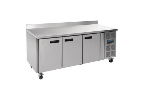Polar Stainless steel 3-door workbench freezer with splash edge   417L