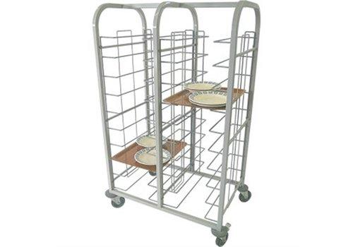 HorecaTraders Stahl Tablettwagen Doppel 150 (H) x110 (b) x41 (D) cm