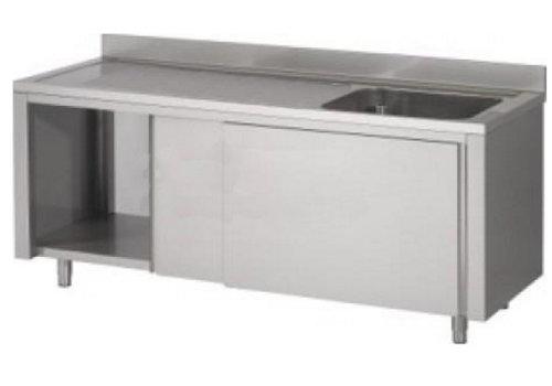 HorecaTraders RVS spoeltafel met schuifdeuren   120x60x90 cm
