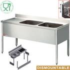 Diamond Edelstahl-Spüle mit zwei Waschbecken rechts   160x70x88cm
