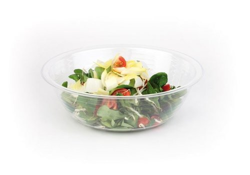 HorecaTraders Salatschüssel Transparent Weiß | 3 Größen