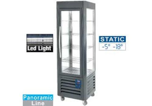 Diamond Stainless steel Freezer Showcase   5 levels   360 liters   hard coal