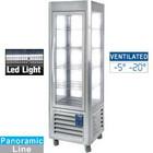 Diamond Stainless steel Panoramic freezer display case | 5 trays | 360 liters