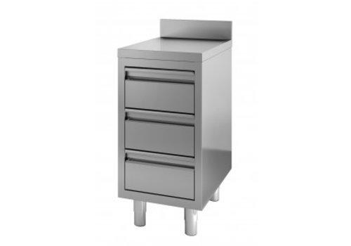 Combisteel Edelstahl Kommode | 3 Schubladen | 60 x 70 x 85 cm | mit Aufkantung