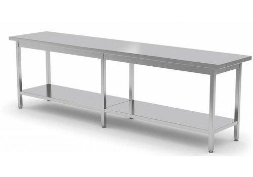 Combisteel Lange Edelstahl-Arbeitstisch mit unter Regal | 80cm Tiefe | 4 Größen