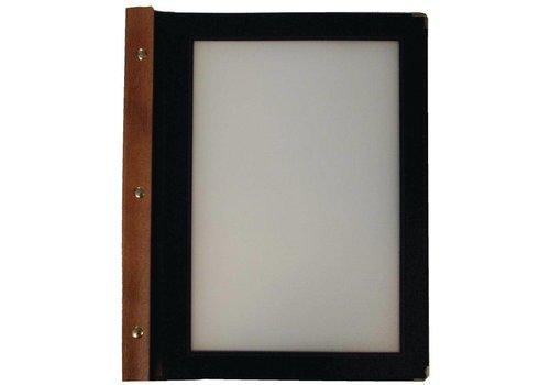 Securit Menu folder Wood | A4 Black