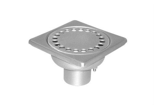 HorecaTraders Stainless steel Floor Drain 100 x 100 mm Vertical Drain 40 mm