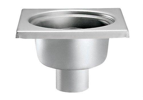 HorecaTraders Edelstahl Bodenablauf 200 x 200 mm vertikal Abfluss 63 mm