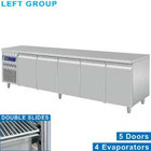 Diamond Stainless steel Refrigerated Workbench | Deurs 5 - 253 x 70 x 85/90 cm