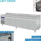 Diamond Stainless steel Refrigerated Workbench With Splash Edge | Deurs 5 - 253 x 70 x 85/90 cm