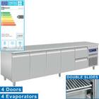 Diamond Edelstahl Kühlwerkbank mit Splash Rand   4 Türen und Schubladen 2-253 x 70 x 85/90 cm