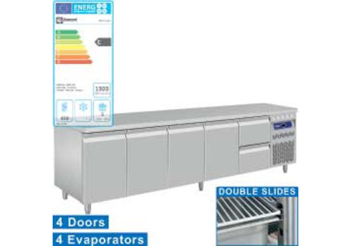Diamond Rvs koelwerkbank Met Spatrand | 4 Deuren en 2 lades